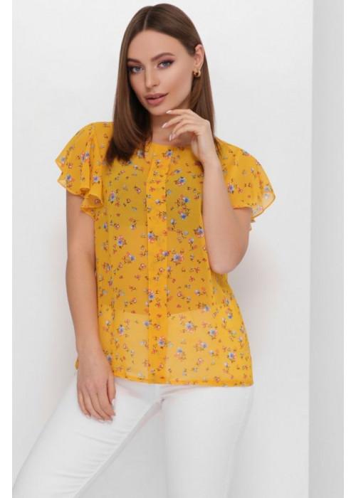 Женская блуза свободного кроя из тонкого и легкого шифона, горчичный