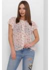 Женская блуза свободного кроя из тонкого и легкого шифона, молочный