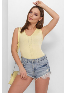 Летняя вязаная майка с узорами спереди и по спинке, лимонный