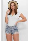 Летняя вязаная футболка с узорами спереди и по спинке, белый