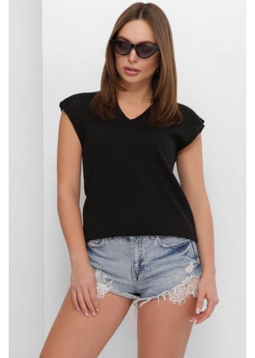 Летняя вязаная футболка с узорами спереди и по спинке, черный