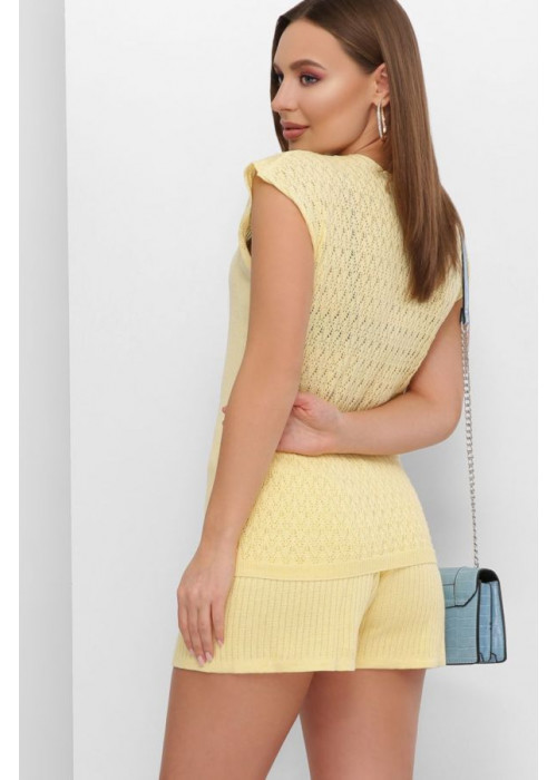 Летняя вязаная футболка с узорами спереди и по спинке, лимонный