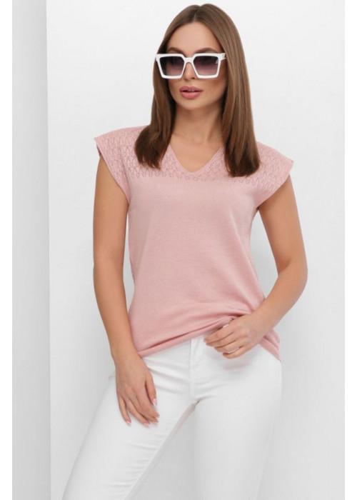 Летняя вязаная футболка с узорами спереди и по спинке, пудра