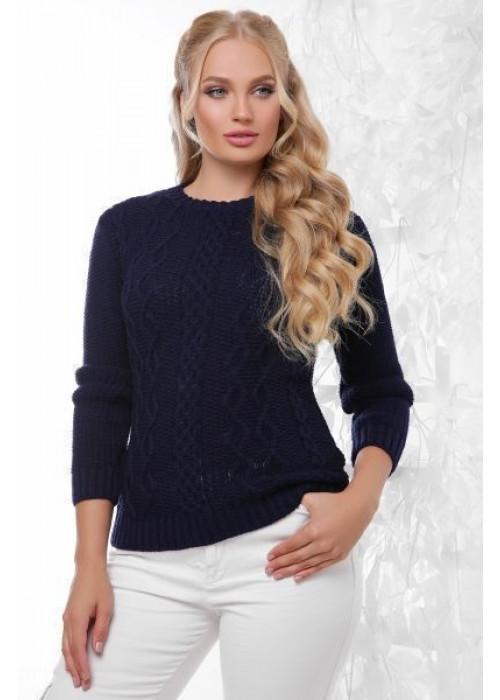 Эксклюзивный синий свитер с красивыми элементами вязки