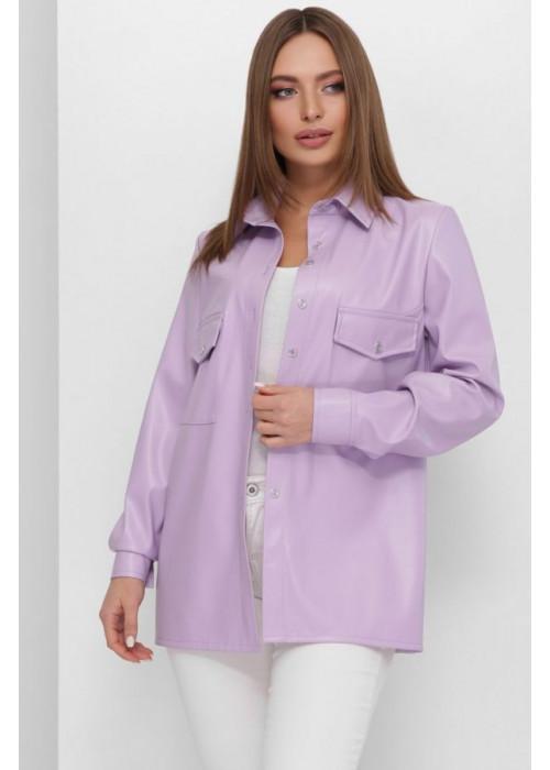 Фиалковая блуза из эко-кожи свободного кроя на пуговицах