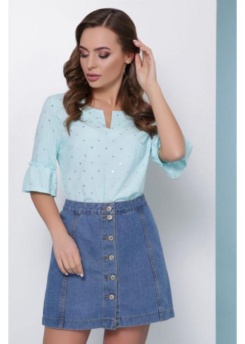 Женская блуза из супер софта с фольгированием, мятная