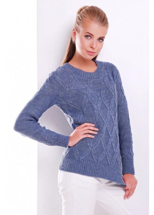 Стильный синий женский свитер