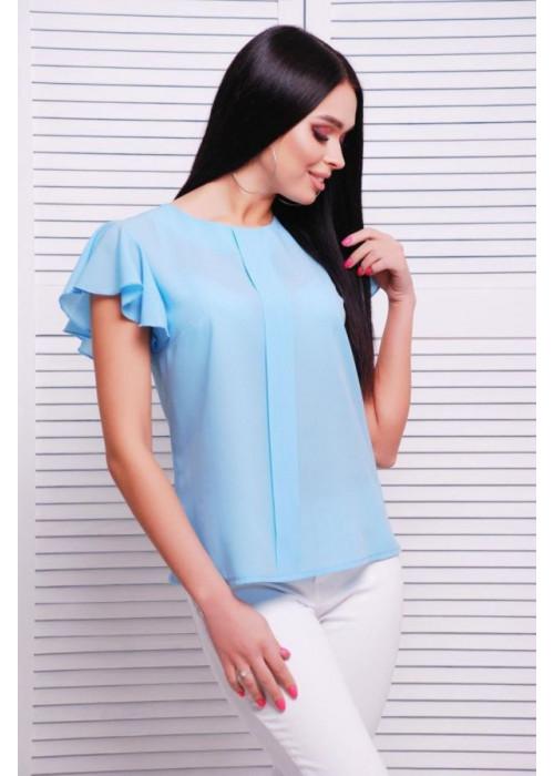 Голубая блуза свободного кроя из тонкого и легкого креп-шифона