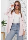 Нежно-розовая блуза из эко-кожи с поясом
