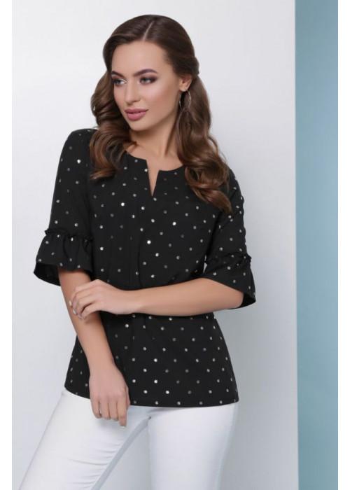Женская блуза из супер софта с фольгированием, черная