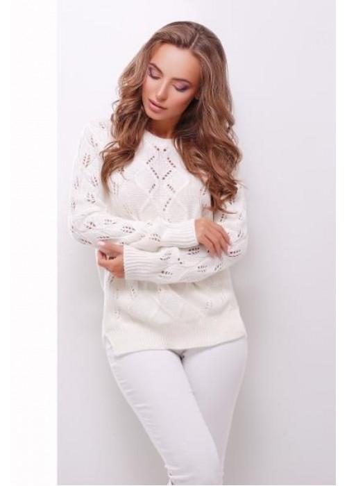 Белый свитер прямого силуэта из качественной мягкой пряжи