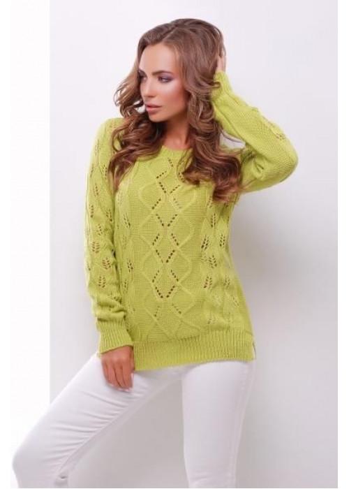 Фисташковый свитер прямого силуэта из качественной мягкой пряжи