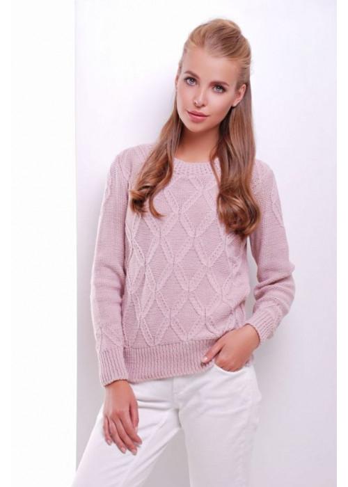 Стильный пудровый женский свитер