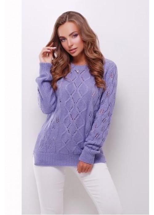 Фиалковый свитер прямого силуэта из качественной мягкой пряжи