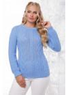 Эксклюзивный голубой свитер с красивыми элементами вязки