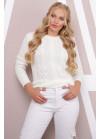 Эксклюзивный белый свитер с красивыми элементами вязки
