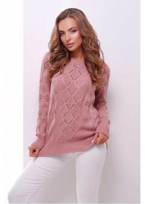 Розовый свитер прямого силуэта из качественной мягкой пряжи
