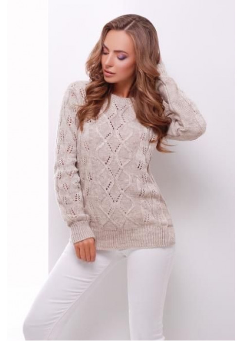 Бежевый свитер прямого силуэта из качественной мягкой пряжи