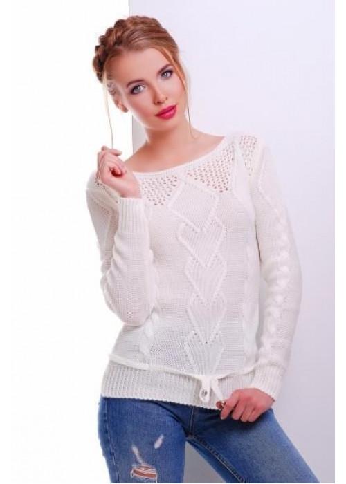 Однотонный свитер с элементами вязки
