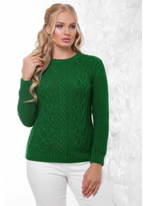 Эксклюзивный зеленый свитер с красивыми элементами вязки