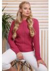 Эксклюзивный розовый свитер с красивыми элементами вязки