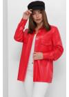 Красная блуза из эко-кожи свободного кроя на пуговицах