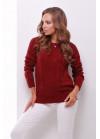 Бордовый свитер прямого силуэта из качественной мягкой пряжи