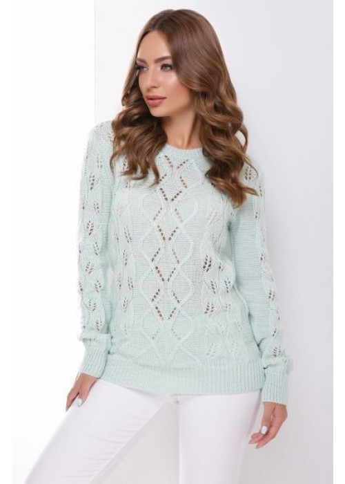 Мятный свитер прямого силуэта из качественной мягкой пряжи