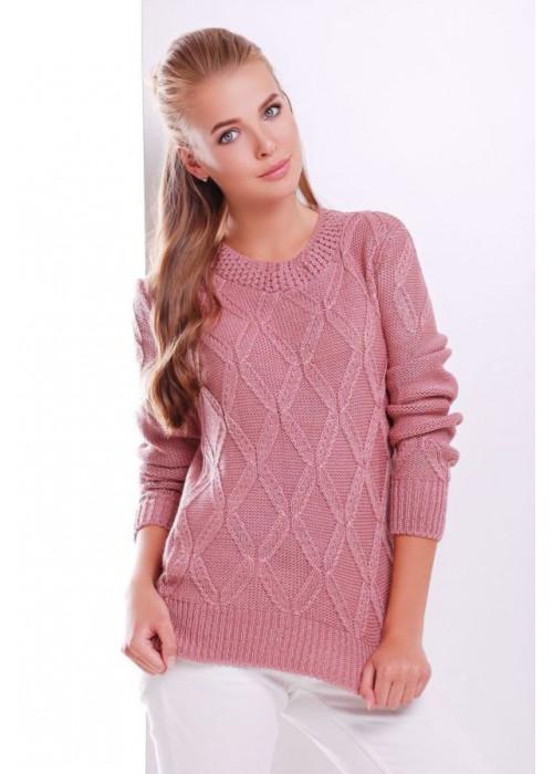 Стильный розовый женский свитер