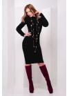 Модное черное вязаное платье слегка приталенного силуэта с манжетами