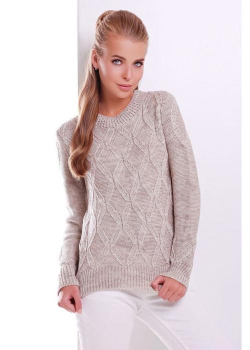 Стильный бежевый женский свитер