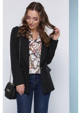 Стильный пиджак свободного кроя на подкладке с отложным воротником с красивой пуговицей