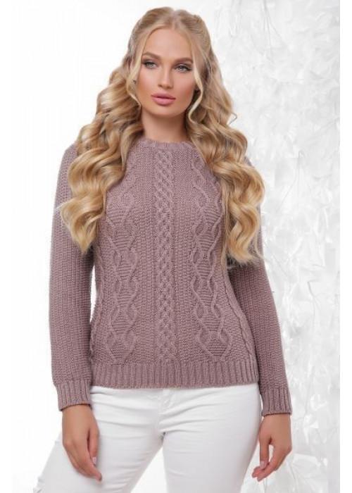 Эксклюзивный свитер цвета капучино с красивыми элементами вязки