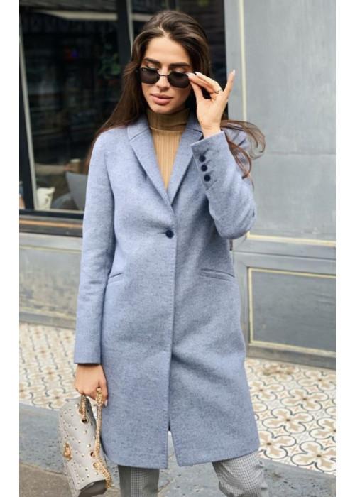 Серо-голубое демисезонное пальто из шерсти ламы