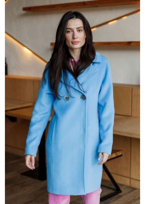 Шикарное пальто-бушлат небесно-голубого цвета из качественного итальянского драпа