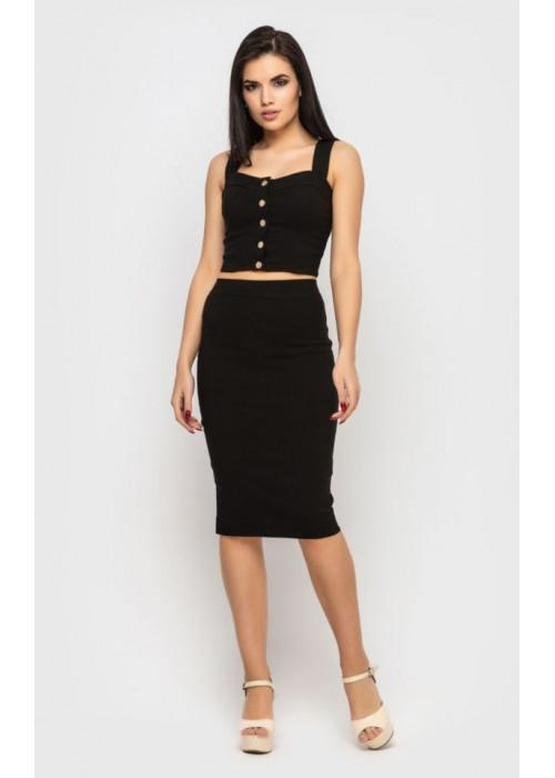 Стильный летний костюм-двойка, топ+юбка, черный