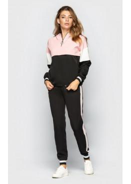 Костюм спортивный с капюшоном, черно-розовый