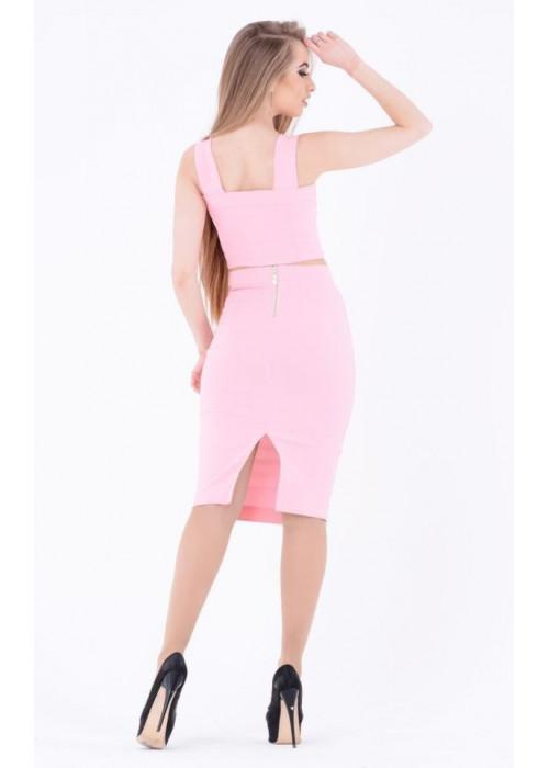 Стильный летний костюм-двойка, топ+юбка, розовый