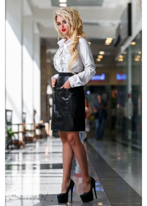 Лаконичная, интересная и оригинальная черная юбка