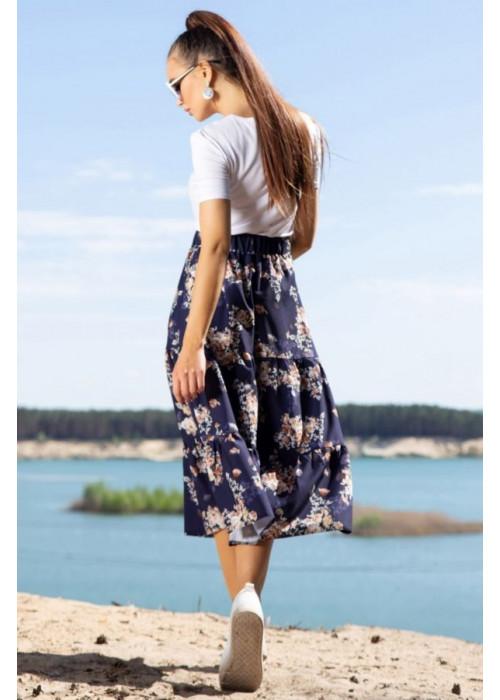 Длинная пышная юбка, синяя в цветочный принт
