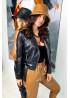 Куртка в байкерском стиле из эко-кожи, черный