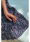 Юбка плиссе миди, синяя в цветочный принт