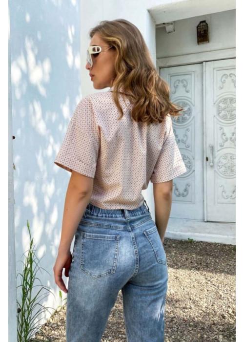 Укороченная рубашка с отложным воротником, светло-розовая