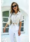 Укороченная рубашка с отложным воротником, белая