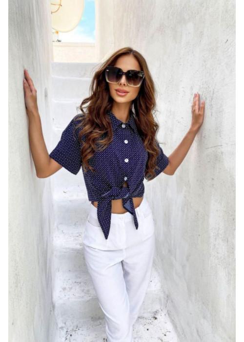 Укороченная рубашка с отложным воротником, синяя
