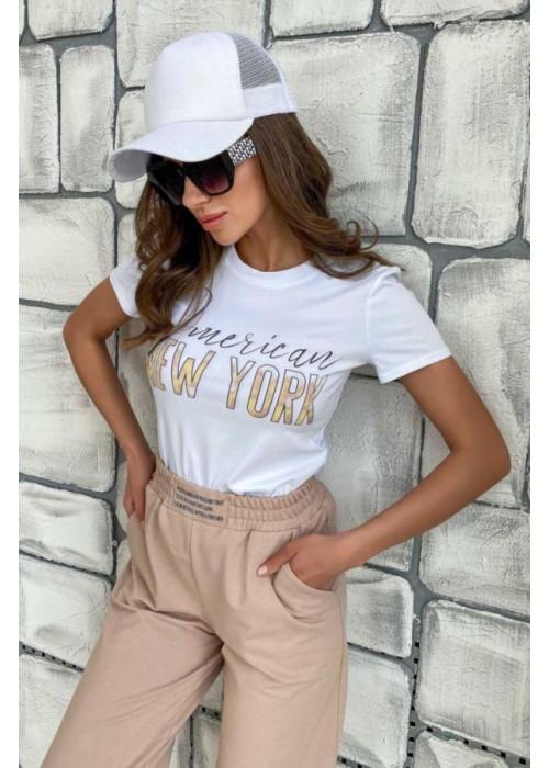 Базовая белая футболка с принтом New York