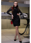 Платье черного цвета приталенного кроя из замши на дайвинге