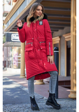Куртка-парка зимняя с натуральным мехом песца