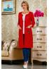 Красный кардиган с ручной вышивкой в виде аппликации цветка