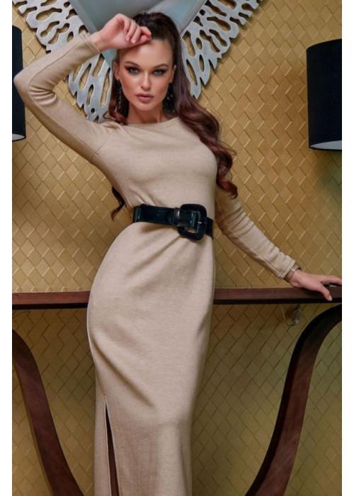 Прямое платье миди с разрезами по бокам